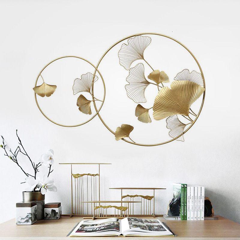 Eisen-Kunst-Wand-Dekoration Ein Wohnzimmer-Wand-Hängen Ornaments Hotels Vorlage Raum-Blatt-hängende TV-Hintergrundwand