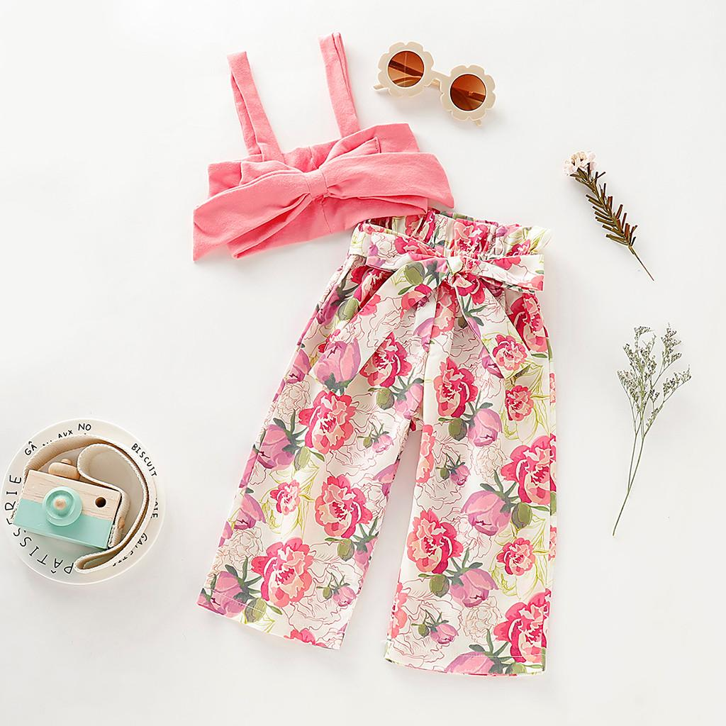 Toddler Baby Girls Vest Crop Tops Floral Short Pants 2Pcs Outfits Clothes Summer