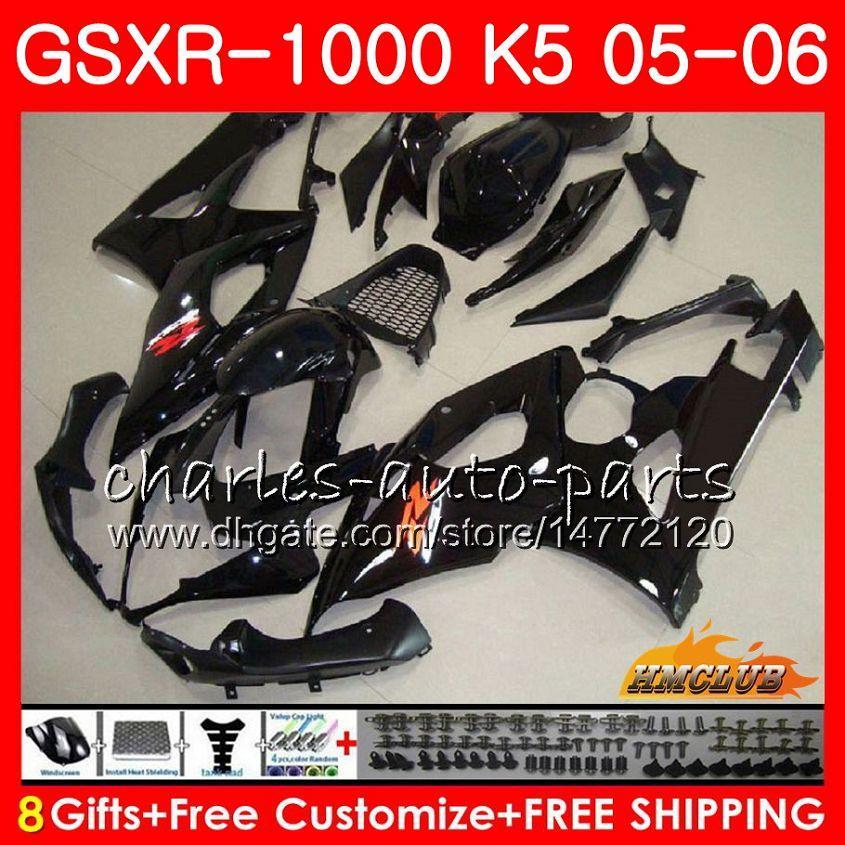 Body + Cowl für Suzuki GSXR-1000 GSXR 1000 05 06 Glossy Black Hot Bodywork 11HC.6 GSX-R1000 GSXR1000 05 06 K5 GSX R1000 2005 2006 Verkleidungsset