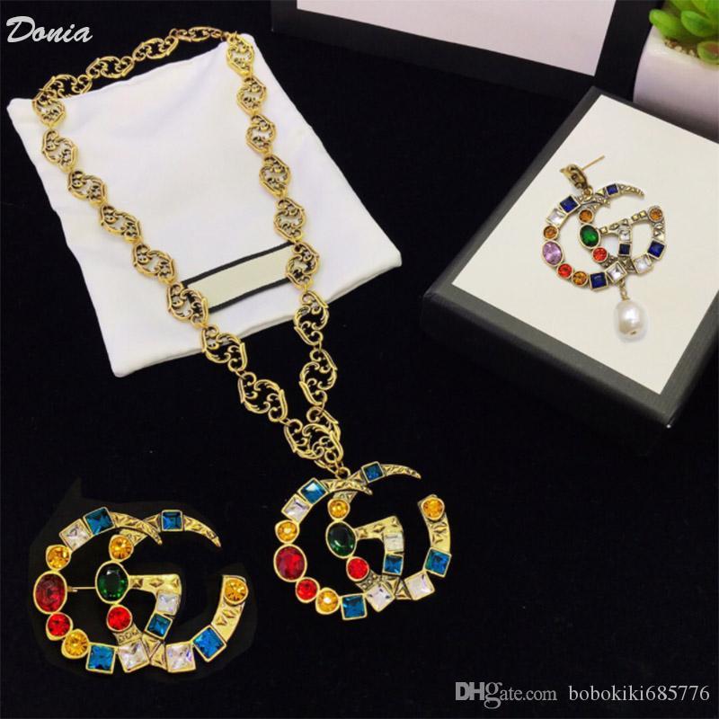 Donia lettera gioielli moda orecchini collana spilla tre pezzi decorazione dono set monili di nozze signore banchetto