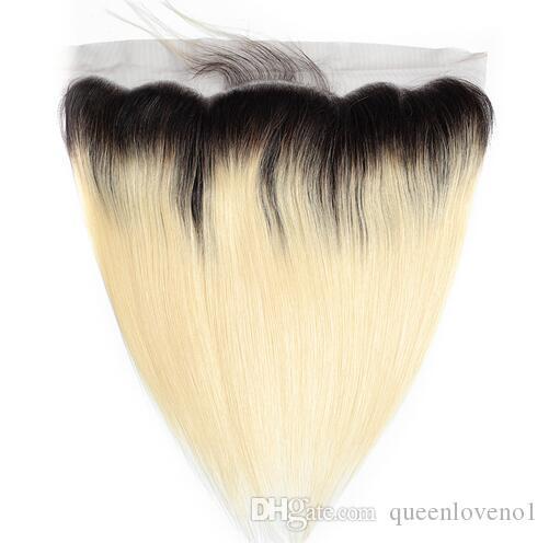 1B / 613 Brasiliano Diritto Ombre Frontale 13x4 Chiusura Orecchio all'orecchio Capelli biondi T1b / 613 Estensioni dei capelli umani 100% non-remy