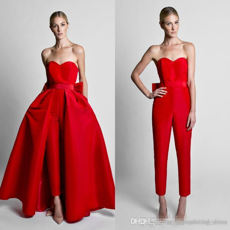 Krikor Jabotian Red Jumpsuits Celebrity Evening Dresses With Detachable Skirt Sweetheart Strapless Satin Guest Dress Prom Party Gowns