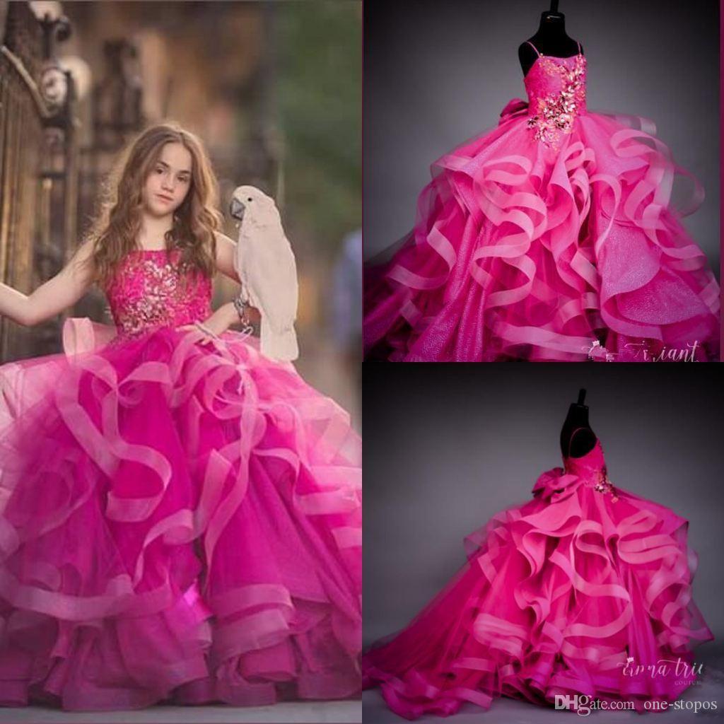 Luxo Fuchsia Spagheti Baile Vestidos menina de cristal do vintage frisado menina formal do partido Pageant Vestidos Vestido de casamento de aniversário
