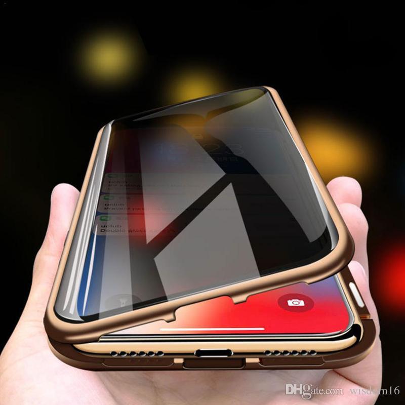 MAX Manyetik Kılıflar iPhone X XR XS 11 Pro Gizlilik Metal Telefon Kılıfı Coque 360 Mıknatıs Önlemek-Peeping Kapak
