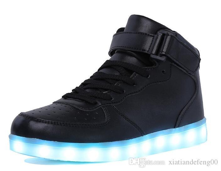 Zapatillas altas con luz LED para niños y niñas Zapatillas brillantes Zapatillas con suela luminosa para mujeresHombres