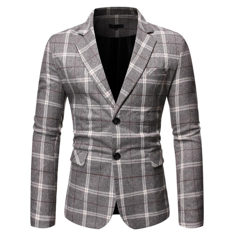 Costumes Hommes Blazers Jaycosin Blazer Homme Status Casual Costume Plaid Business Wedding Party Hauts pour hommes 2021