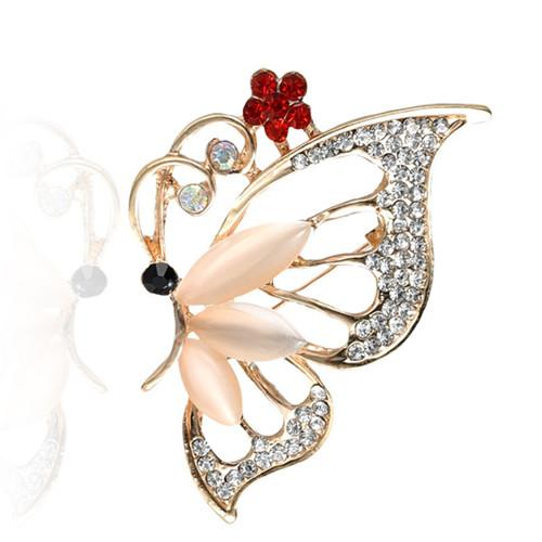 Wholesale 10 pcs Trendy Silver Plated Butterfly Shape with Rhinestone Brooch for Gift Insect Fashion Jewelry