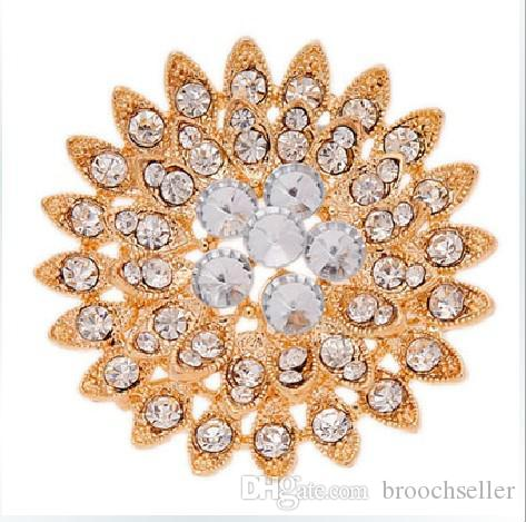 Vergulde Clear Rhinestone Crystal Sun Flower Sparkly Diamante Broche