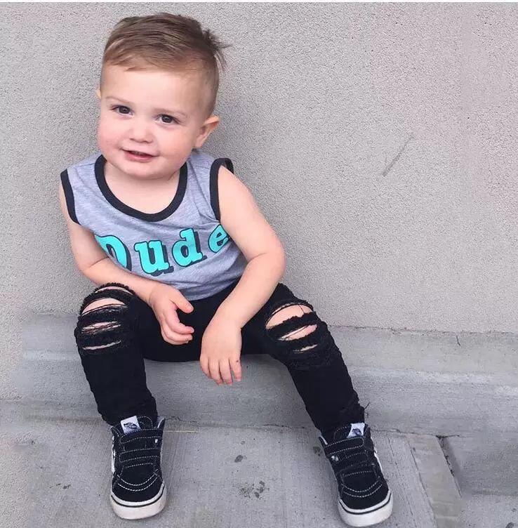 패션 아기 청바지 아동 청바지 여자 청바지 남자 바지 어린이 스키니 바지 아기 옷 유아 의류 유아 의류 B414 찢어진, 구멍