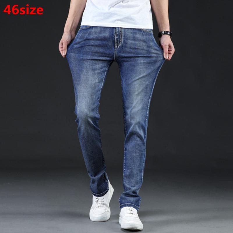 Sommer neue dünne Jeans der Männer Sommer strecken schlank hellblau gerade groß Größe Mitte rise jeans 46