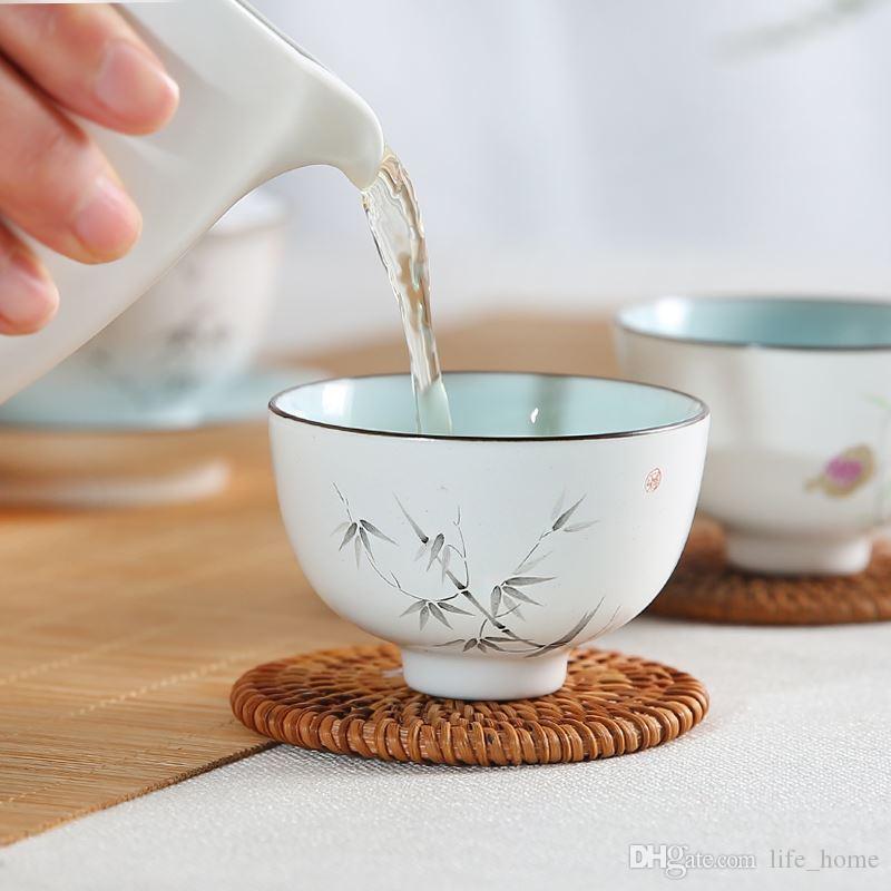 Painted 2019 tazze di tè cinese a mano 70ml Piccolo Kung Fu Tea Cup Jingdezhen piccole ciotole di ceramica a mano in porcellana della tazza del vino Mid Anno