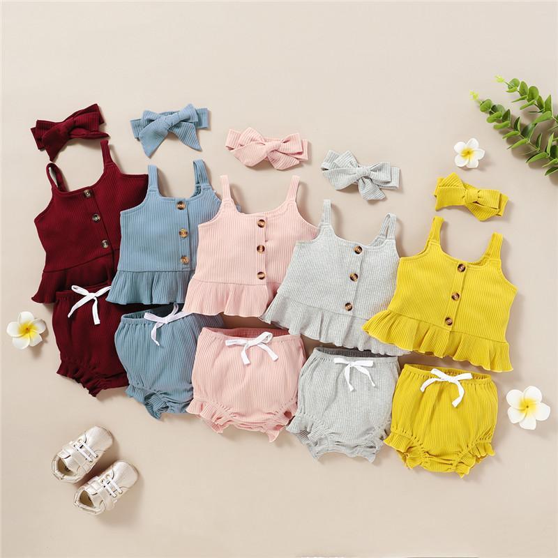 Baby Girl Mikrdoo recém-nascido da criança roupas de verão doce ajustados de algodão Strap Top + Shorts com Headband cor sólida 3PCS Outfit
