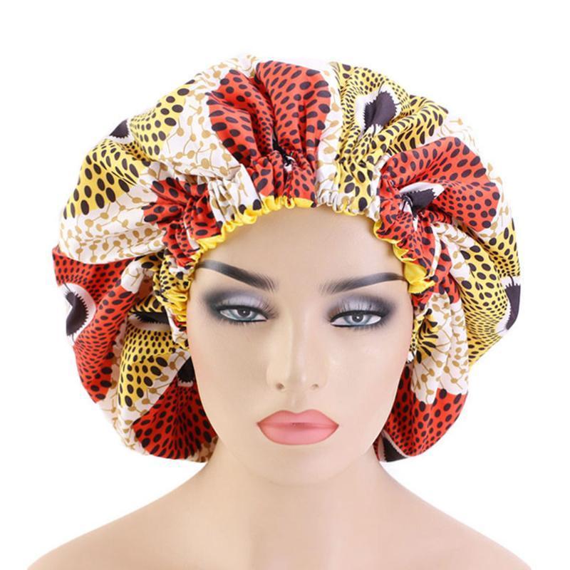 Kadınlar Afrikalı Çiçek Saten Gece Uyku Bonnet Şapka Saç Bakımı Cap Baş Wrap Büyük Baş Giyim Bayanlar Headwrap Saç Bakımı Hat yazdır