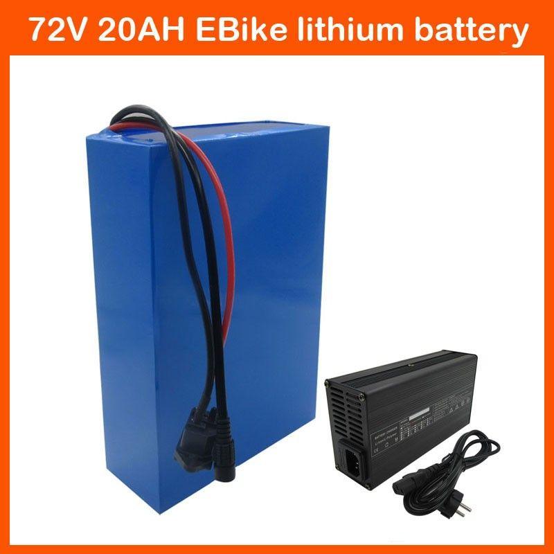 Ücretsiz kargo 2500 W Lityum Pil 72 V 20AH EBike pil 72 V Pil paketi Kullanın Panasonic 2900 mah hücre 40A BMS ve 2A Şarj