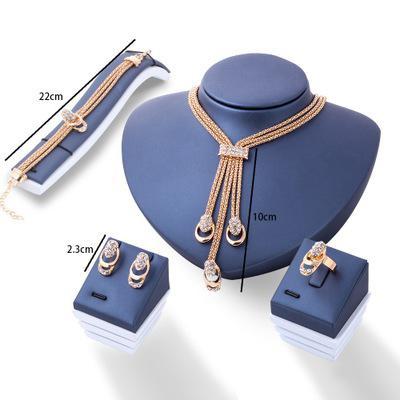 크리스탈 개의 Tassels 펜던트 목걸이 귀걸이 반지 팔찌는 여성 크리스마스 선물 NO BOX에 대한 4PCS 신부 웨딩 보석 세트 액세서리를 설정