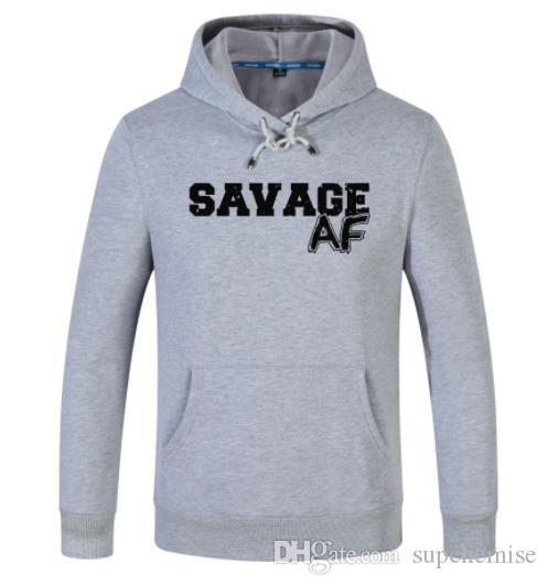 Savage Imprimir Mens Designer pulôver manga comprida lapela pescoço Hoodies Casual Moletons Vestuário Masculino