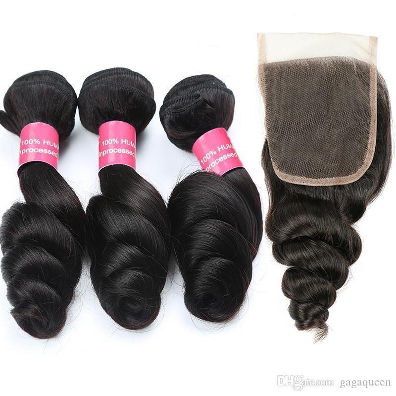 Malaysian Loose Wave Hair With Closure Malaysian Hair Bundles With Closure Unprocessed Human Hair Weaves Bundles With 4x4 Closure