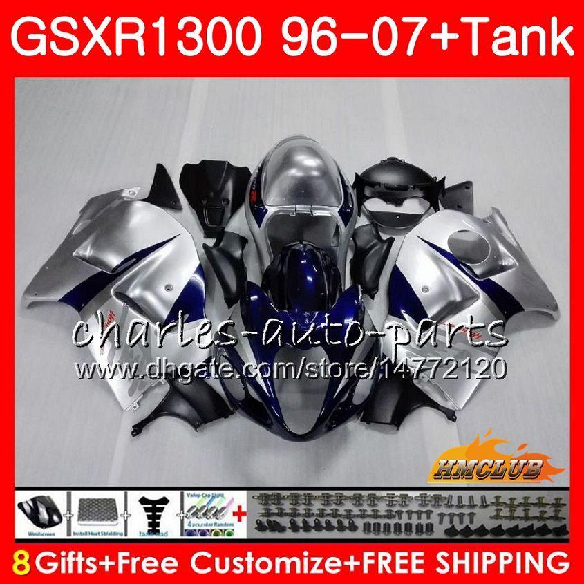 Kit voor Suzuki Hayabusa Blue Silvery GSX-R1300 1996 1997 1998 2007 24hc.28 GSXR 1300 GSXR1300 96 97 98 99 00 01 02 03 04 05 06 07 Valerijen