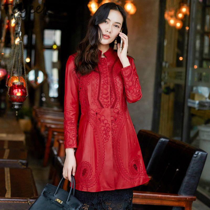 Tcyeek Gerçek Sheepskin Coat Bayan Gerçek Deri Ceket Kadınlar Plus Size Doğal Deri Palto Bahar Kemer Giyim LWL1429