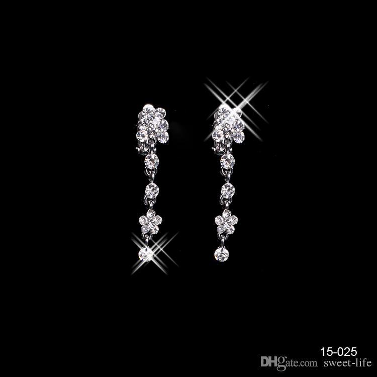 15025 Kutsal Rhinestone Kristal Dört Yapraklı Yonca Küpe Kolye Seti Gelin Parti Istakoz Toka Balo Akşam Için Ucuz Jewel Setleri