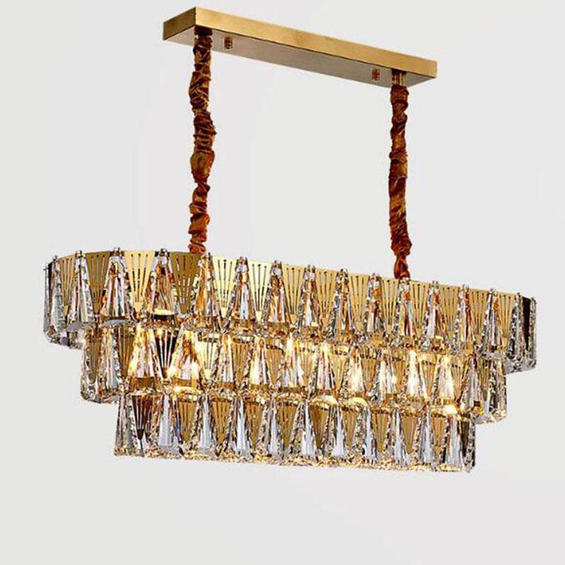 الكريستال الفاخرة الحديثة تصميم الإضاءة الثريا الثريا المستطيل أدى المصابيح والثريات لغرفة المعيشة المطبخ غرفة نوم