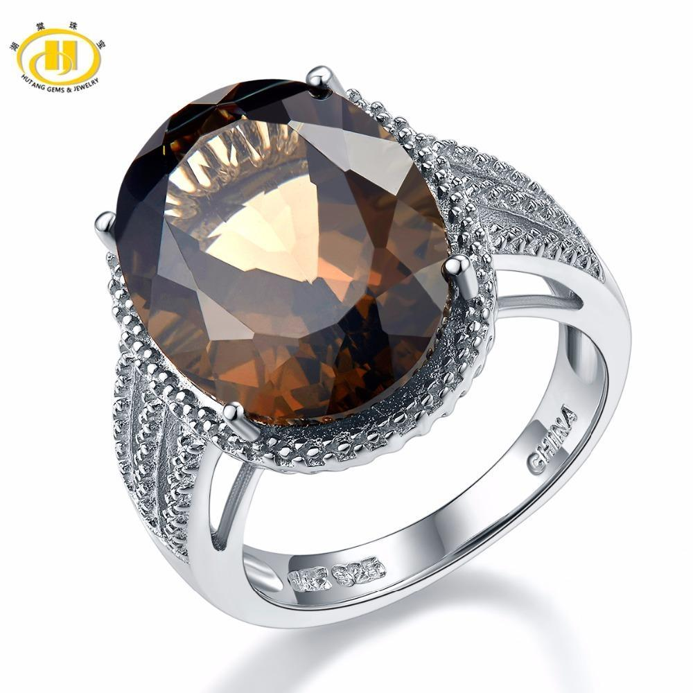 HUTANG NEW 8.37 ct Natural Oval Smoky Quartz Solid 925 Sterling Silver Cockettle Ring Gemstone Fine Jewelly Womens Xmas Gift S18101002