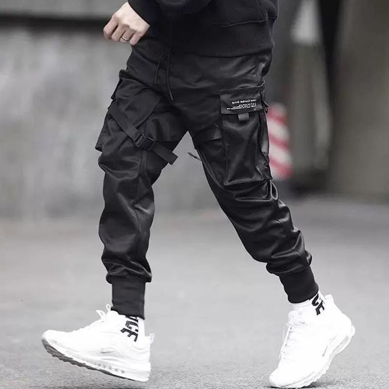 Erkekler çok cepli Harem Kalça Pantolon Pantolon Streetwear Sweatpants Hombre Erkek Günlük Moda Kargo Pantolon Erkekler