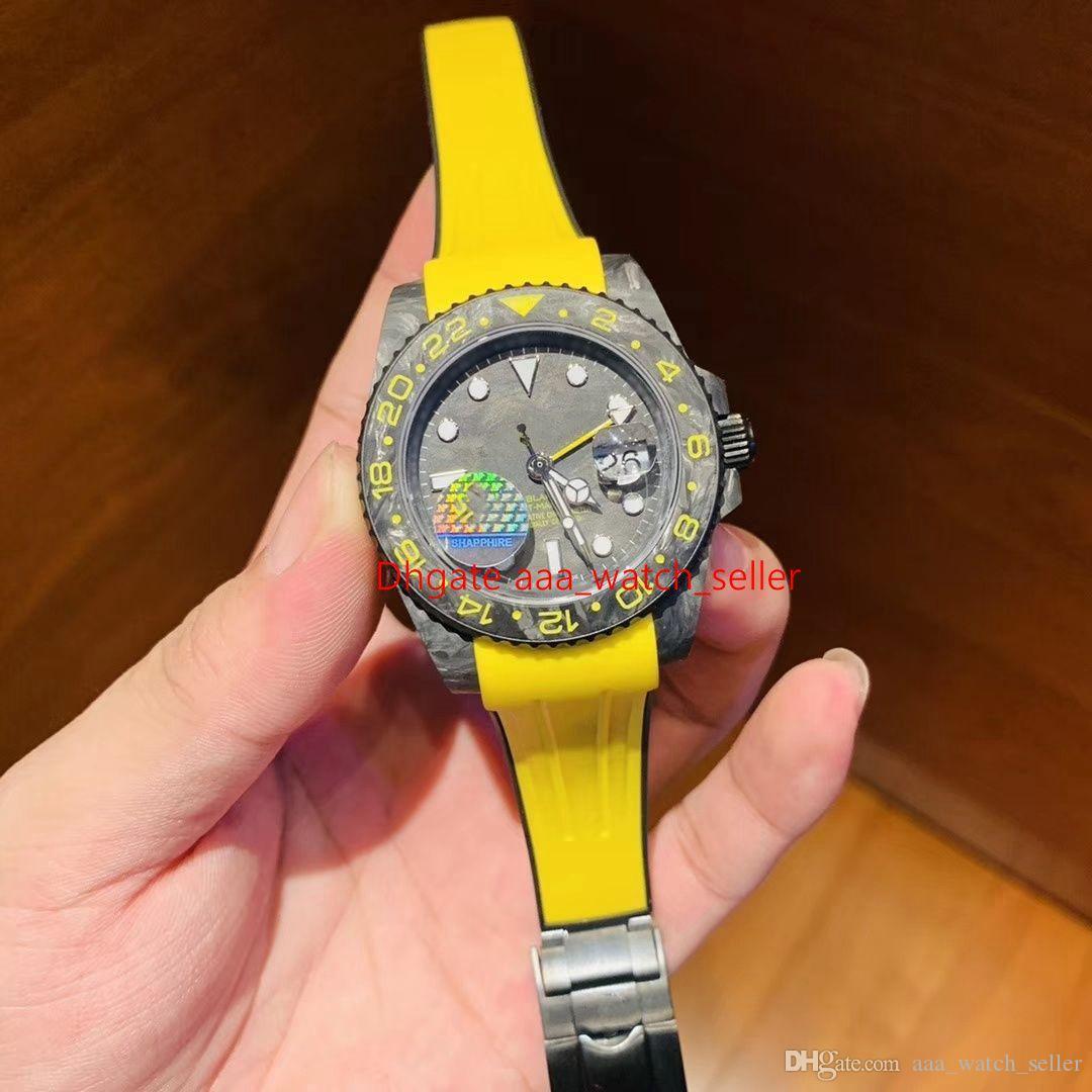 2020 новый мастер мужская мода смотреть углеродного волокна безель GMT M126710BLNR 2836 Menchanical механизм с автоподзаводом резиновый ремешок роскошные мужские наручные часы