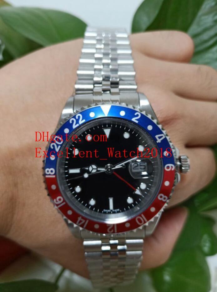 남성 핫 판매는 시계 BP 공장 40mm GMT 빈티지 1675 스테인레스 스틸 레드 블루 베젤 블랙 다이얼 아시아 2813 운동 기계 자동 시계