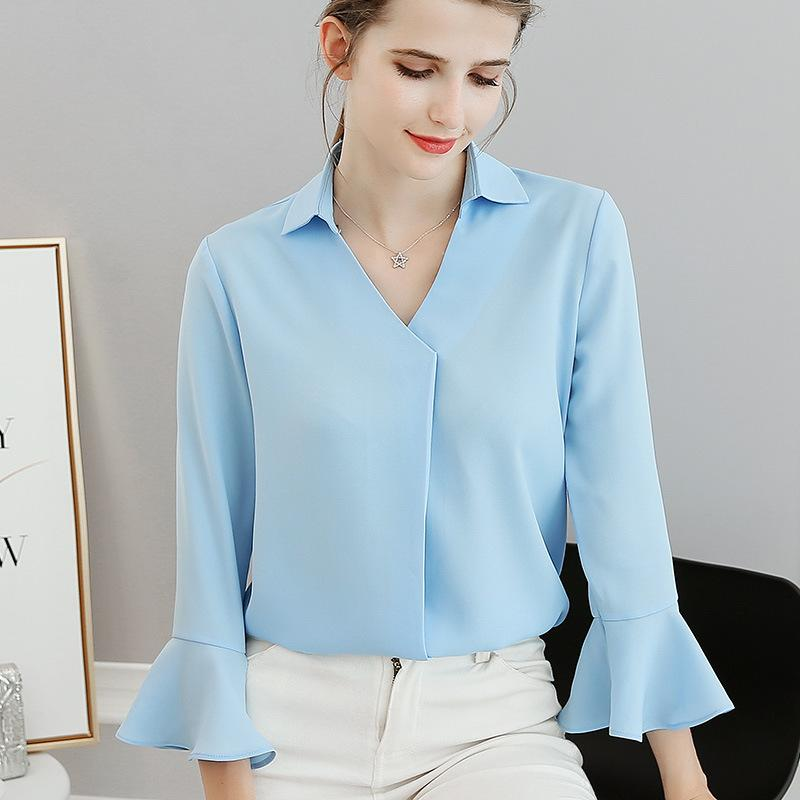 La primavera y el verano de la nueva camiseta de cuello Encienda Tamaño grande Ocio Puro color de manga larga camisa de manga gasa de las mujeres de moda suéter de las mujeres