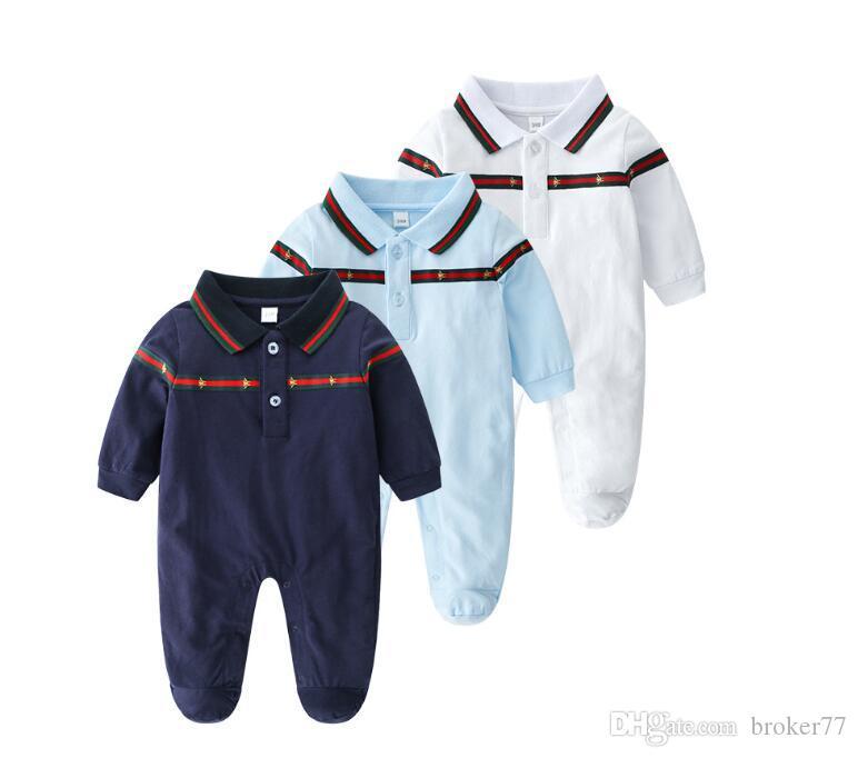 2020 새로운 도착 아기 옷 아기 면화 얇은 옷깃, 긴 소매, 꿀벌 자수, 소년과 소녀 디자이너 아이 옷을위한 여름 복장 633
