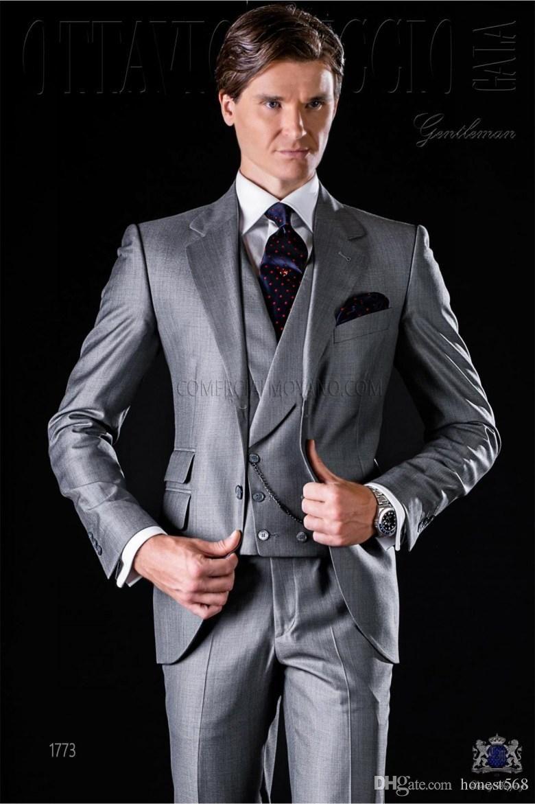 Yakışıklı Bir Düğme Groomsmen Notch Yaka Damat smokin Erkekler Suits Düğün / Gelinlik / Akşam Sağdıç Blazer (Ceket + Pantolon + Kravat + Yelek) 666