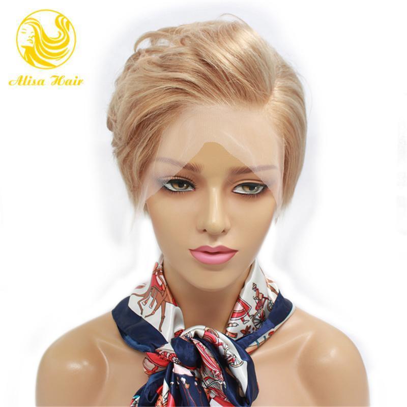 Alisa cheveux Pixie Cut court Bob Lace Front perruques de cheveux humains Vierge brésilienne Dentelle perruques avant plumé Hairline avec bébé
