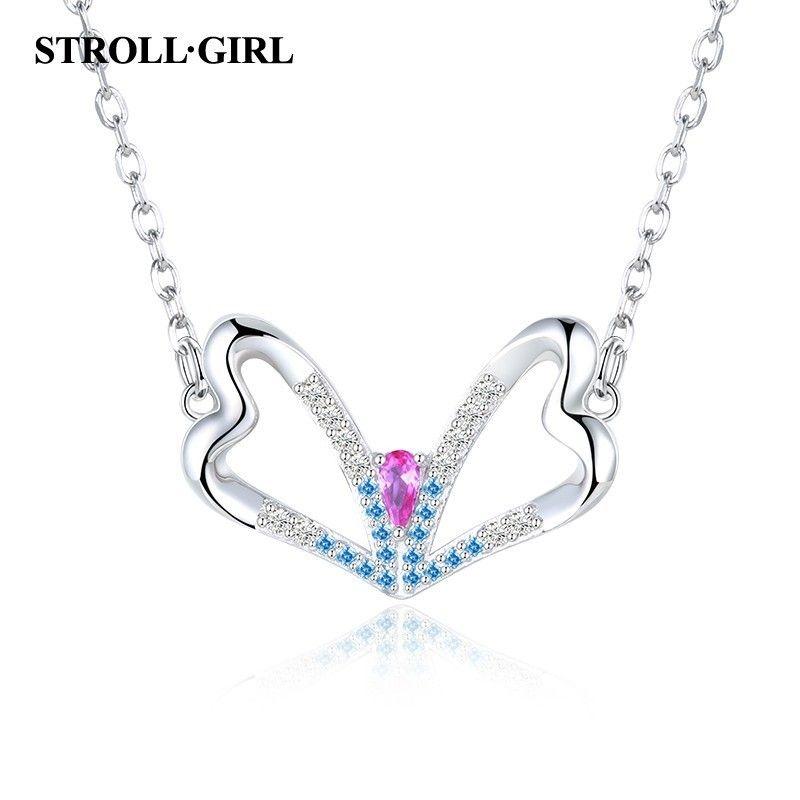 Jewelry Best Seller Sterling Silver Polished CZ Heart Chain Slide Pendant