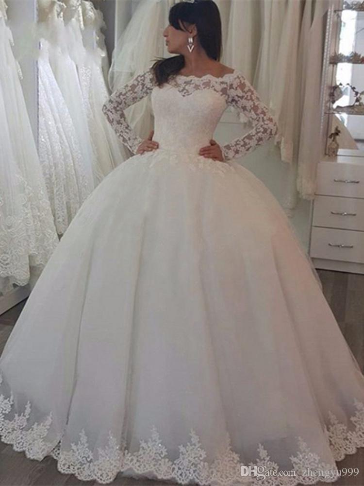 Stunning Floral Flower Long Sleeve Wedding Dresses Beads Sash Beach Lace Plus Size Illusion 2020 Train vestido de noiva Bridal Gown Ball
