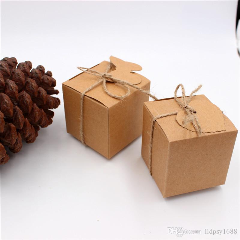 Kraft Kağıt Kare Şeker Kutusu Rustik Bebek Nikah Şekeri Kutusu Bags Düğün Doğum Günü Partisi Dekorasyon Malzemeleri Yana
