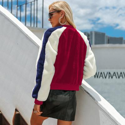 Mulheres Designer Plush Jacket Meninas Luxo Casual Contraste Brasão Youth Cor marca de roupa das mulheres casacos de moda 2020 Nova Primavera
