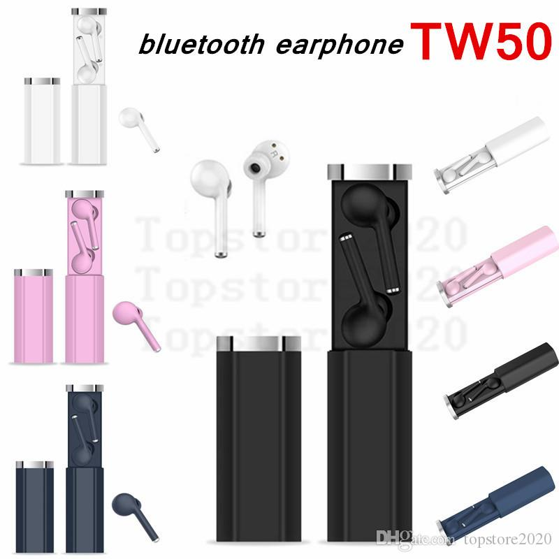 BT 5.0 TW50 Wireless cuffia auricolare colorato TWS Bluetooth auricolari Cuffie HIFI suono sveglia Siri auricolare