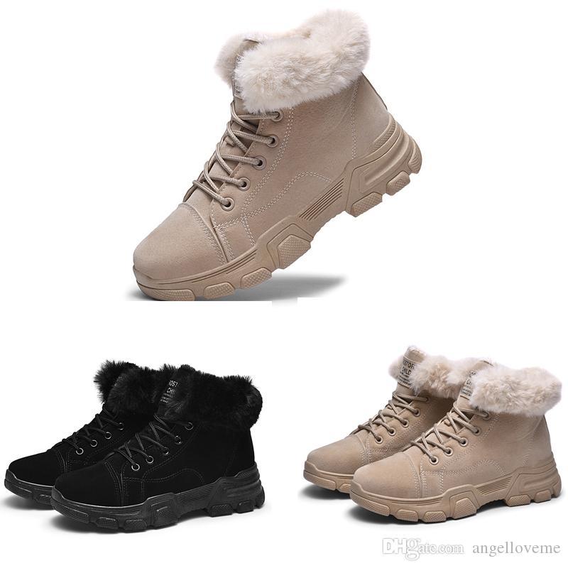 Coton Classique Ladies Designer Chaussures femme Bottes hiver Haut Baskets montantes Kaki Heels cloutées noir chaud en cuir imperméable chaussures Martin