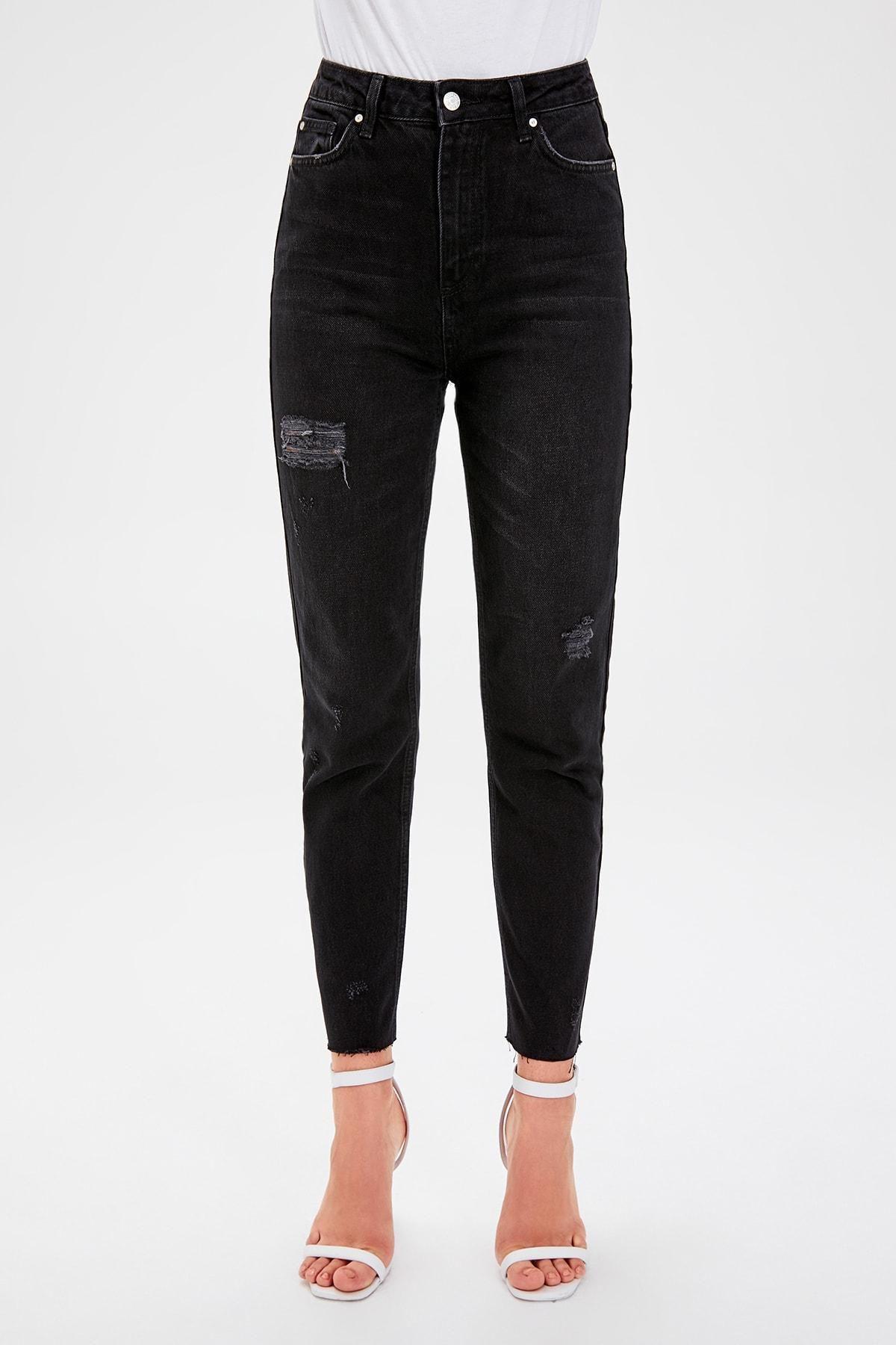 Trendyol Schwarz Ripped Detaillierte Hohe Bel Mom Jeans TWOAW20JE0077