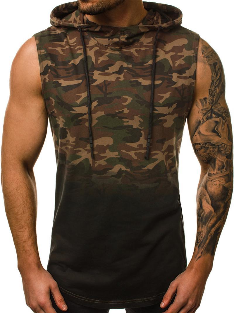 Mens Sport camouflage Gilet d'été en cours Dégradé de couleur Débardeurs Homme Designer Sans manches Sous-vêtements à capuchon actif