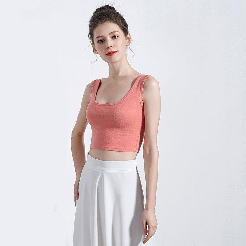 Abbigliamento donna 2019 New Summer Slim Black Crop Top Donna U Neck Canotte Black White Summer Basic Top Tops Women Cropped Vest