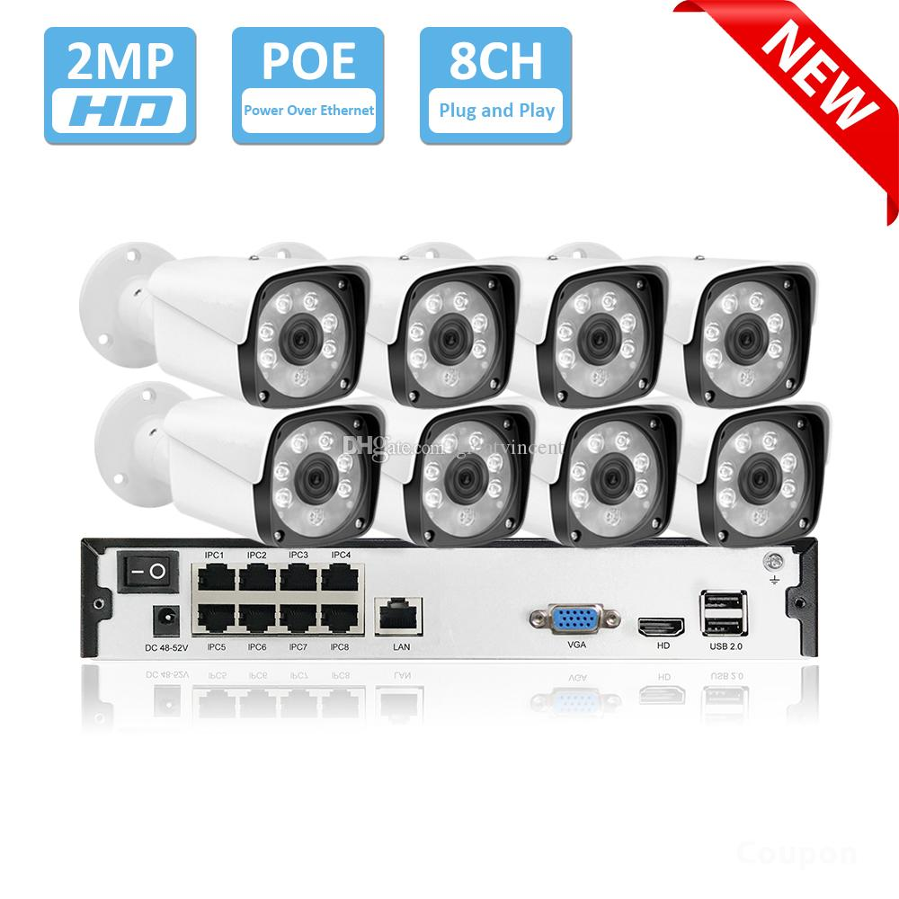 8 채널 1080P POE 키트 H.265 시스템 CCTV 보안 9CH NVR 2.0MP 야외 방수 IP 카메라 감시 알람 비디오 P2P