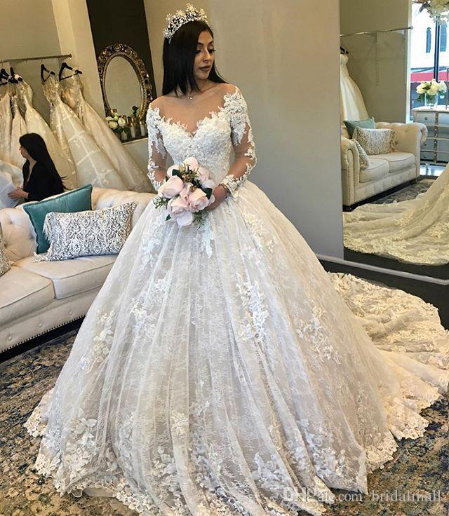 Erstaunlich New geschwollener langer Ärmel Ballkleid Brautkleider 2020 Sheer Ausschnitt Gericht Zug wulstige Spitze Braut-Kleid plus Größe Spitze Brautkleider
