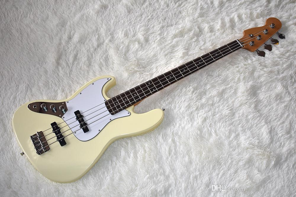 Factory Custom 4 cuerdas Milk Yellow bajo eléctrico con hardware de Chrome, Pickguard blanco, alta calidad, se puede personalizar