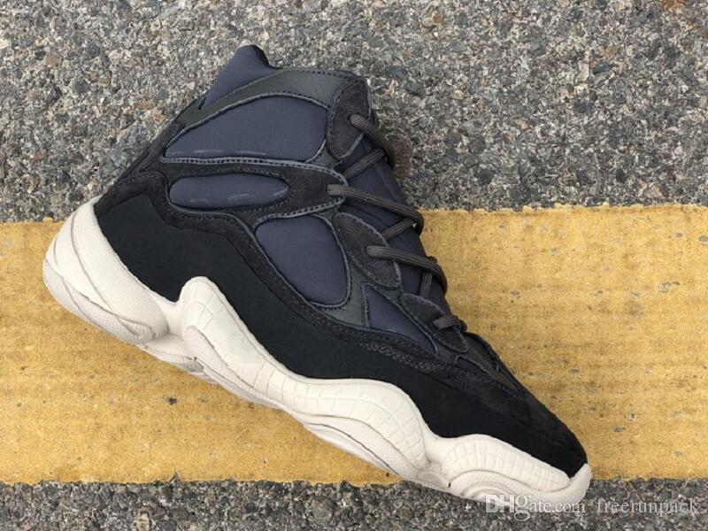 La meilleure qualité 500 haute ardoise Chaussures de sport Designer Black Suede Kanye West Baskets Mode viennent avec la boîte Taille US7-12
