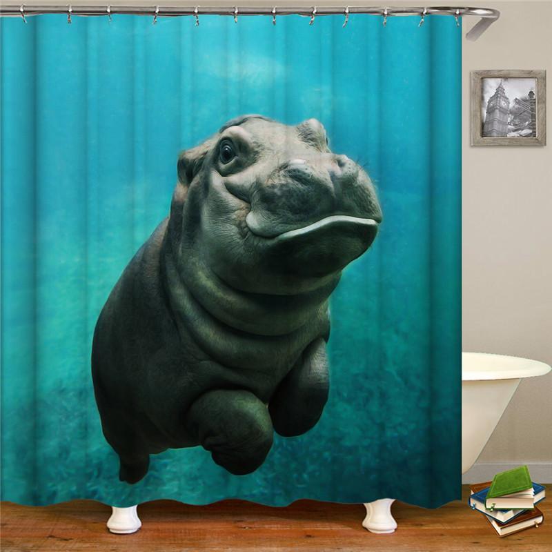 Cortina de chuveiro mobiliário suprimentos de impressão digital simulação 3D azul marinho padrão animal chuveiro cortina cair