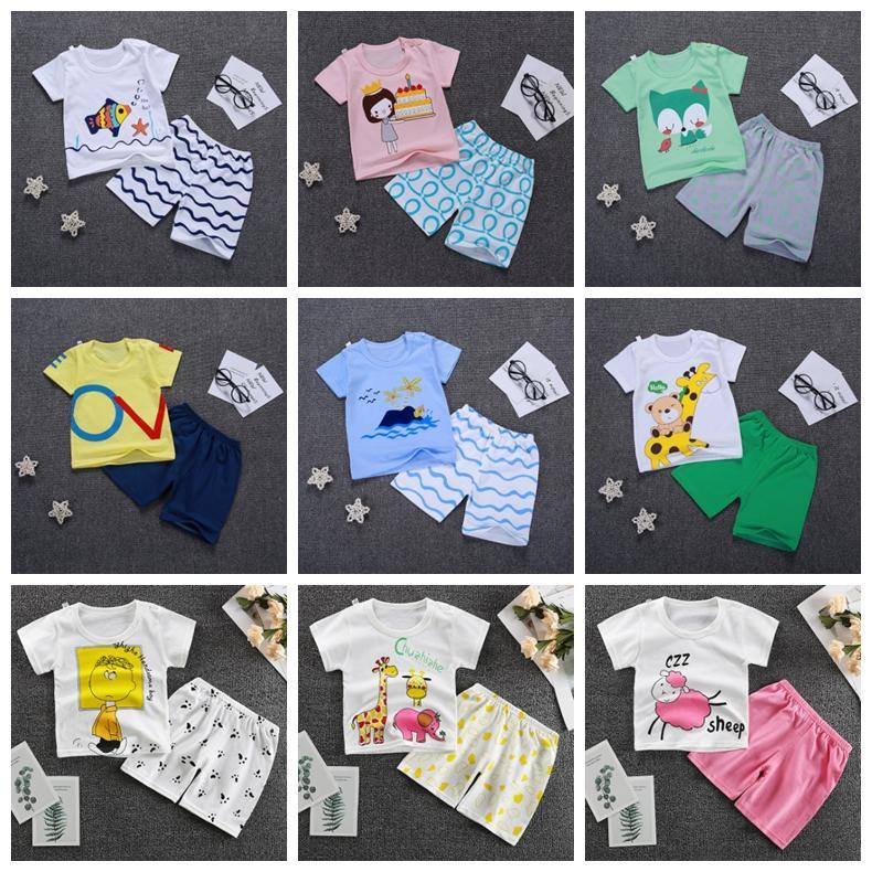 Ropa del bebé Conjunto de la historieta del bebé de las muchachas de los pantalones cortos 2pcs de la manga corta para niños pequeños equipos del verano para niños Ropa 15 diseños YW3329Q