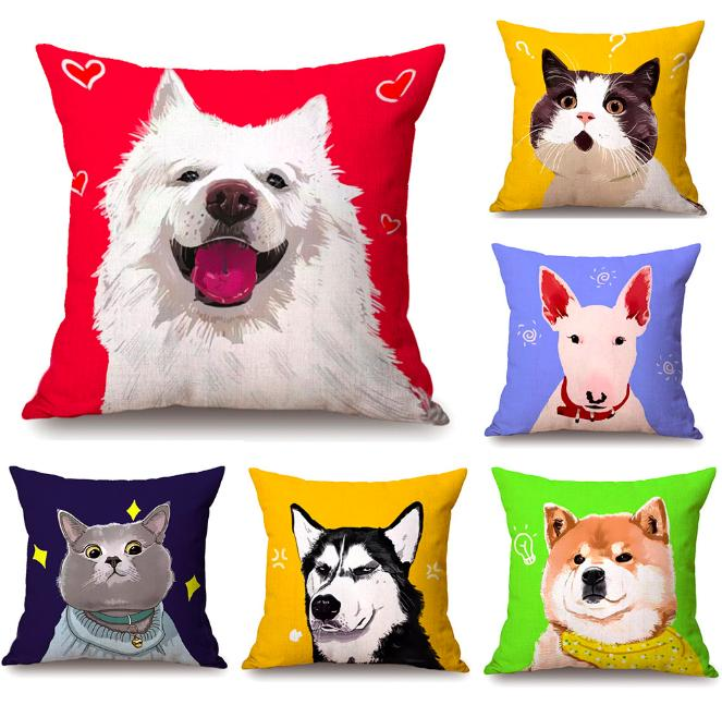 Pop Art Dog Puppy Neck Body Pillowcase Linen Bed Travel Pillows Cover Couch Seat Cushion Throw Pillow Home Decoration Gift