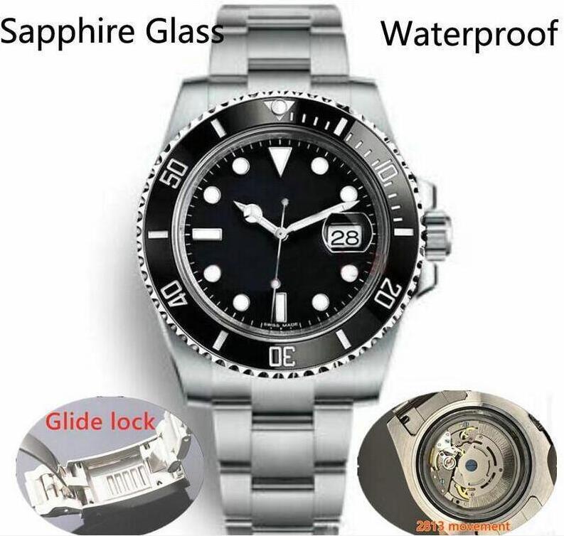 2020 Glide Lock Novo Top Cerâmica Bezel Sapphire Mens 2813 Movimento Automático Mecânico SS Moda Relógio de Relógios dos Homens